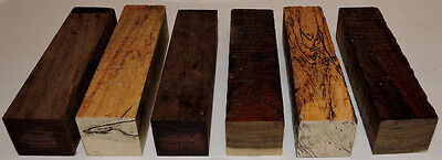 Six Exotic Woods Turning Blanks 1.5x1.5x6  Knife Handles Reel Seats Pen Making