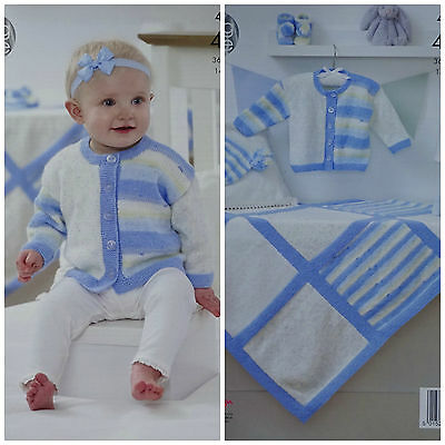 KNITTING PATTERN Baby Blanket Jacket Hat &Bootees Baby Prints 4ply KingCole 4978