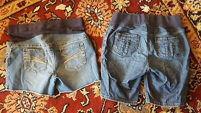 Lot of 2 Large Maternity Denim Jean Shorts 2 Hearts & Old Navy