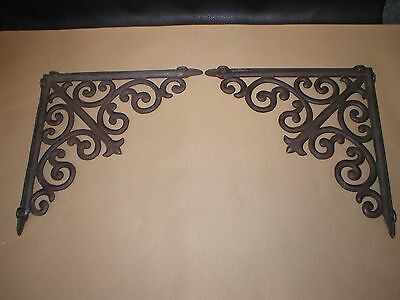 """2 Shelf support brackets 10"""" X 10"""" cast iron natural patina vintage early1900's"""