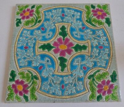 Old Longwy style 1900 Awesome Flowers Art Nouveau Tile Jugendstil Fliese  french