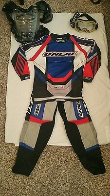 O'Neal Method Youth Racing Outfit Chest Protector and Scott Goggles