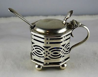 #12 Antique English Sterling Small Pierced Mustard Pot Cobalt Liner Spoon Deakin