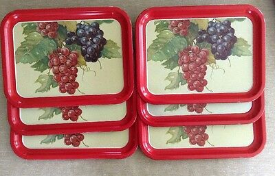 "6x Vintage Enameled Metal Trays Red With Grapes 13 3/4"" X 10 1/2"""