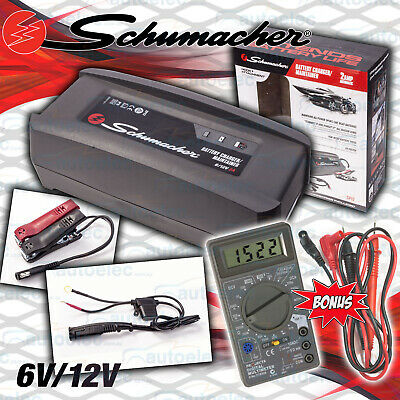 Schumacher 2A Amp 6 & 12V Volt Smart Battery Maintainer Charger + Projecta Meter