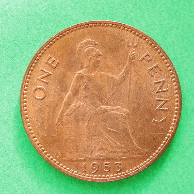 1953 Elizabeth II Penny Really good detail Some lustre cover SNo46266
