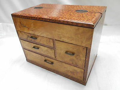 Vintage Keyaki and Kiri Wood Sewing Box Japanese Drawers C1930s #669