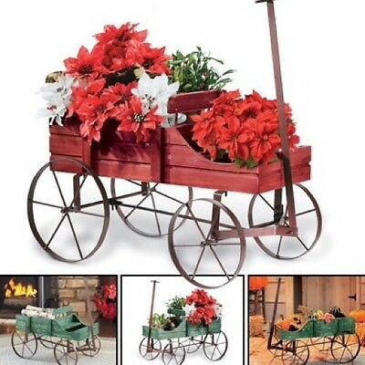 Rustic Wagon Decoration Garden Planter Flower Amish Outdoor Yard Christmas Gifts