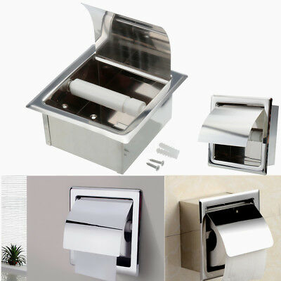 2X Stainless Steel Roll Toilet Tissue Holder Paper Wall Mount Bath Recessed Box