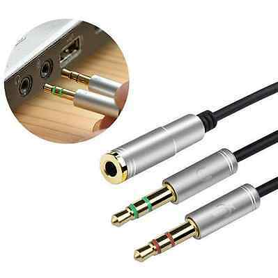 3.5mm Stereo Audio Male to 2 Female Headset Mic Y Splitter Cable Adapter SILVER