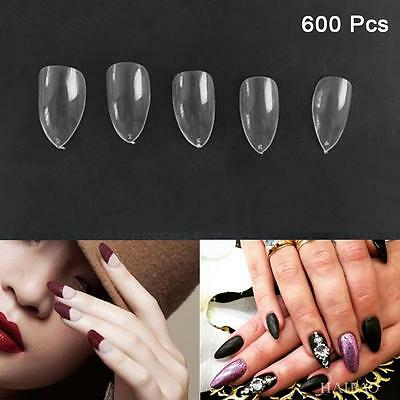 600Pcs Artificial Sharp Nails Tips Fake Full Cover DIY Pointy Stiletto Clear PK