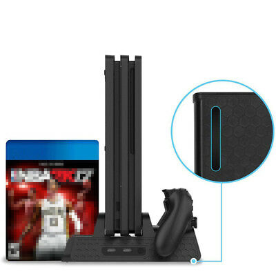 Vertical Stand Dual USB Charger Cooling Fan Dock For Sony PS4 Slim / PS4 Pro