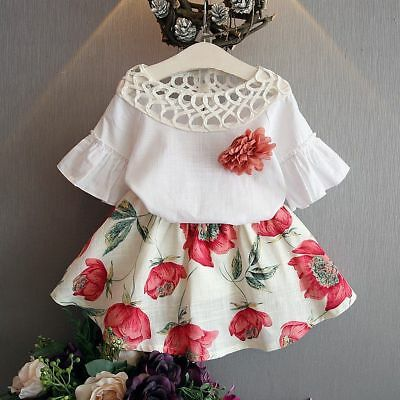 AU 2Pcs Kids Baby Girls Lace Shirt Tops+ Floral Skirt Dress Set Outfit Clothes