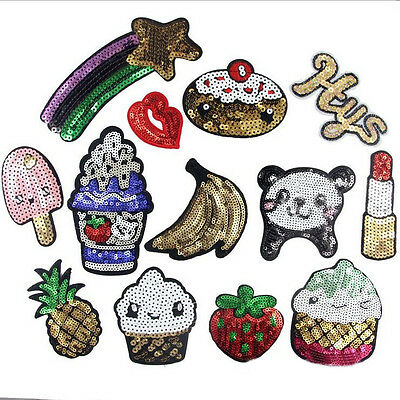 17Pcs Cartoon Dessert Sequin Embroidered Sew Iron on Patch Cloth Badge Applique
