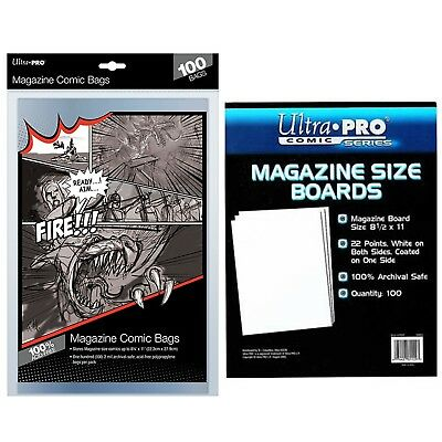 Ultra Pro MAGAZINE Size Comic Bags Sleeves  x 100 + White Backing Boards x 100