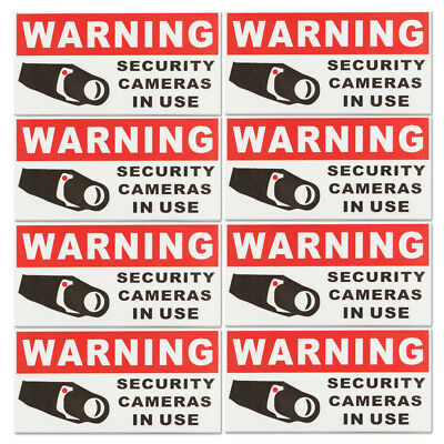 Pack of 8 Decal Sticker Sign - SECURITY CAMERA IN USE Warning Safety Signs Vinyl