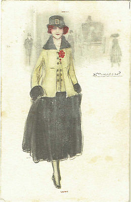 Mauzan Artist Signed Old Postcard Glamour Woman In 1930S Dress & Jacket