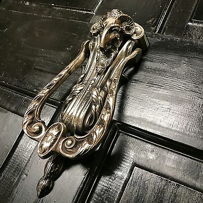 Nickel Traditional Period Ram's Head Door Knocker (Atc)