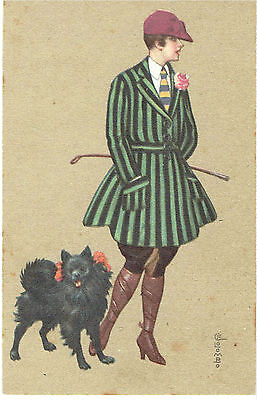 Colombo Artist Old Postcard Glamour Woman In Riding Clothes Pomeranian Dog