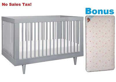Convertible Crib with BONUS MATTRESS 3 in 1 Toddler Bed Kids Nursery Furniture