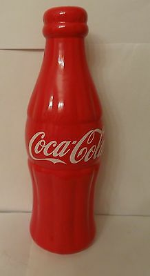 """Coca Cola Coke Soda Bottle Ceramic Red Coin Bank Large 12"""" Tall glossy finish"""