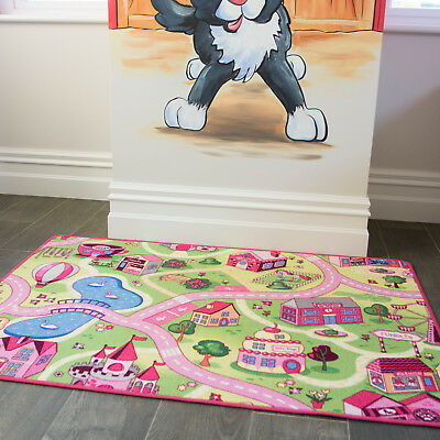 Children's Kids Rugs Town Road Map Funfair Toy Rug Play Village Mat 95 x 133cm