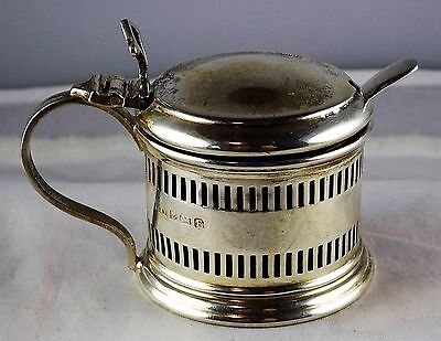 #13 Antique English Sterling Pierced Mustard Pot Cobalt Liner Spoon Docker Burn