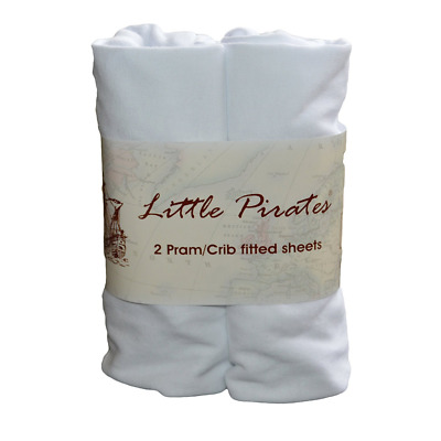 2 pack Baby Bassinet Cradle Jersey Fitted Sheet 100% Cotton White 15x33 inches