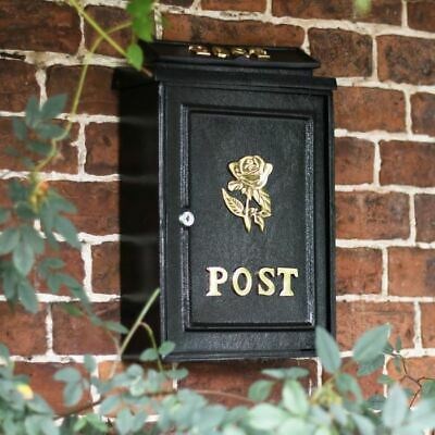Tudor Rose Motif Post Box Letterbox Mail Postbox Wall Mounted Letter Box