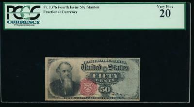AC Fr 1376 $0.50 fractional Fourth Issue PCGS 20 blue right end paper
