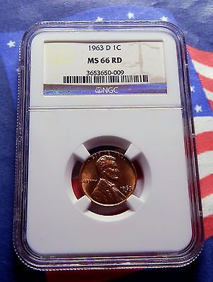 1963-D Lincoln Memorial Cent - Ngc  Ms 66 Rd - Bright Red Gem - Plus Free Coin!