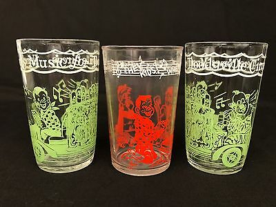 Vintage Howdy Doody Drinking Glasses 1953 Set Of 3 Welch's Jelly Glass