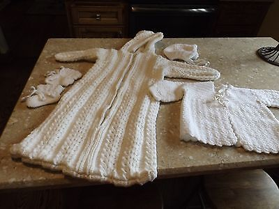 Hand Crocheted White Baby Infant Bunting, Bonnet, Sweater Booties - Christening