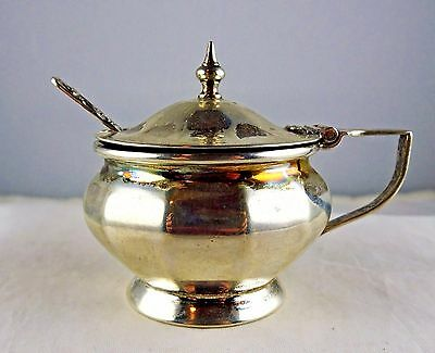 #17 Antique English Sterling Silver Mustard Pot Cobalt Liner Spoon L & L