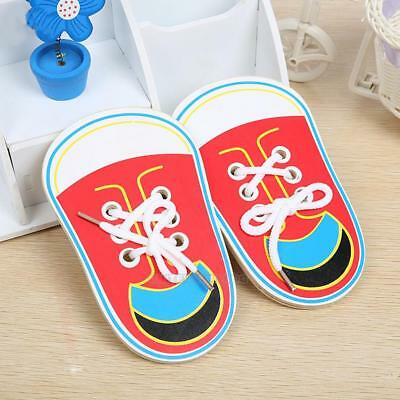 Children Kids Wooden Lacing Shoes Toddler Baby Teaching Tie Shoelaces Toys Xmas
