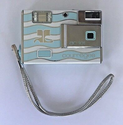 Vintage Minolta AC101 Courrèges Disc Camera Fun Blue Silver Carry Strap