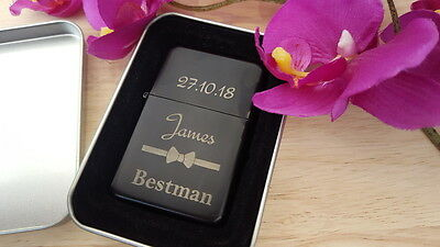 Best Man Best Woman Personalised Lighter Wedding Day Gift Engraved Groomsman