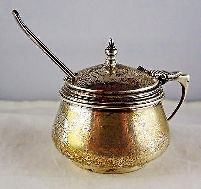 #18 Antique English Sterling Silver Mustard Pot Cobalt Liner Spoon OS * FS