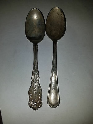 Set of 2 Rock Island Lines Silver Teaspoons 6 Inches Long