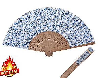 Folding Hand Fans Hand Held Fan Bamboo and Strong Fabric Handheld Blue Floral