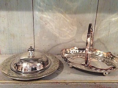 Antique Silver Plate  - Bon Bon Dish And Lidded Butter Dish