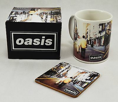 Officially Licensed Boxed Oasis Mug & Coaster Set. What's The Story Album Art