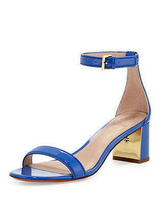 e6b87467145fb7 NEW Tory Burch Cecile 55 Sandals City Royal Blue Macaw Patent Leather Shoes  9.5
