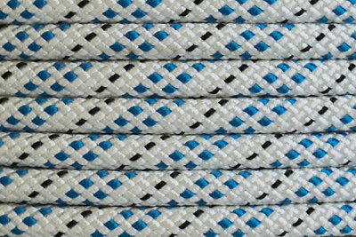 Polyester Double Braided Rope 8mm x 50m Reel, White/Blue Fleck