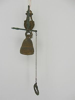 Vintage Ornate Solid Brass Hanging Pull Chain DOOR BELL Dinner Call Wall Mount
