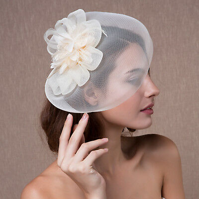 Women Organza Headpiece Fascinator Hair Clip Veil Hat Wedding Party Ascot Races
