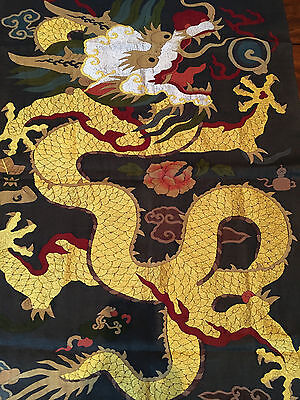 A Rare And Important Chinese Qing Dynasty Gold Dragon Kesi Pane #2. .