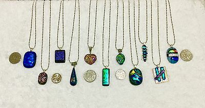 Pick 1 Dichroic Glass Pendant with Silver Tone Chain CLEARANCE SPECIAL Unwanted