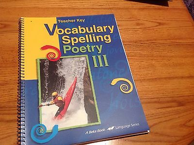 Abeka Vocabulary Spelling and Poetry III Set Homeschooling 9th grade lot of 2