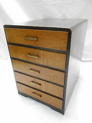 Vintage Oak Wood Document Box Office Draws Japanese Drawers Circa 1930s #676
